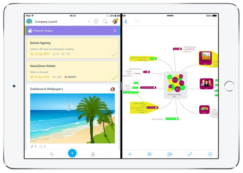 MindMeister and MeisterTask Split Screen on iPad