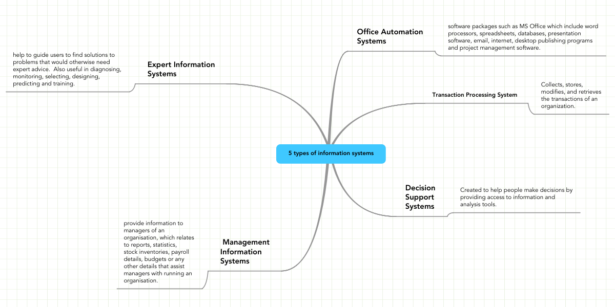 5 Types Of Information Systems Example Mindmeister
