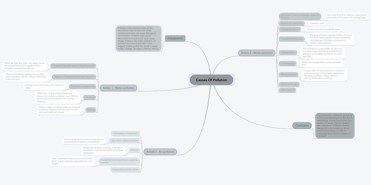 Causes Of Pollution | MindMeister Mind Map