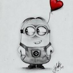 Amor minion dibujado a lapiz 255x300