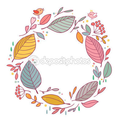 Dep 51421483 autumn frame with leaves flowers and birds