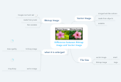 Mind map: Difference between Bitmap image and Vector image