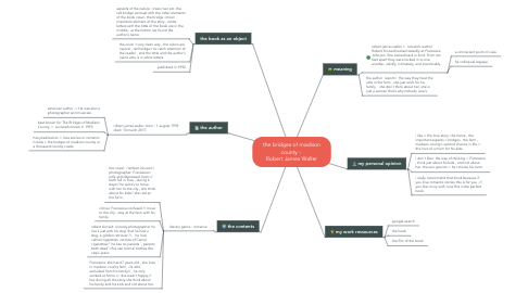 Mind Map: the bridges of madison county -  Robert James Waller
