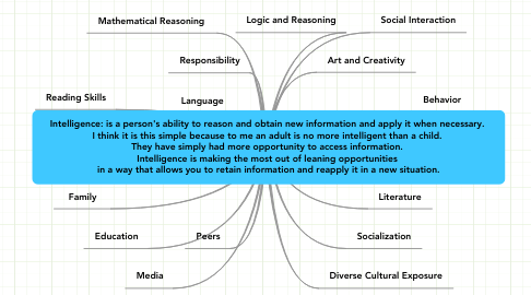 Mind Map: Intelligence: is a person's ability to reason and obtain new information and apply it when necessary.  I think it is this simple because to me an adult is no more intelligent than a child.  They have simply had more opportunity to access information.  Intelligence is making the most out of leaning opportunities  in a way that allows you to retain information and reapply it in a new situation.