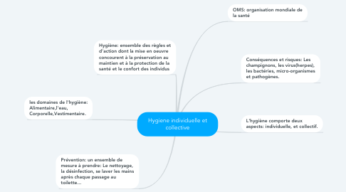 Mind Map: Hygiene individuelle et collective
