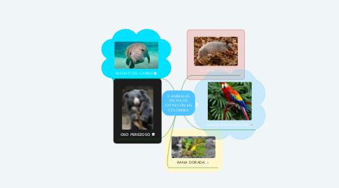 Mind Map: 5 ANIMALES EN VÍA DE EXTINCIÓN EN COLOMBIA