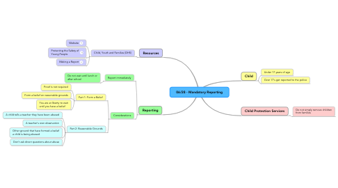 Mind Map: 06/28 - Mandatory Reporting