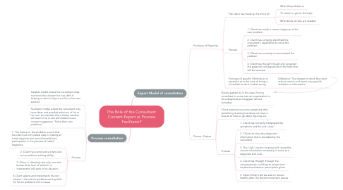 Mind Map: The Role of the Consultant: Content Expert or Process Facilitator?