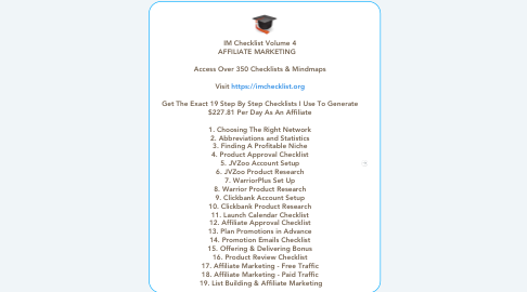 Mind Map: IM Checklist Volume 4  AFFILIATE MARKETING       Access Over 350 Checklists & Mindmaps    Visit https://imchecklist.org    Get The Exact 19 Step By Step Checklists I Use To Generate  $227.81 Per Day As An Affiliate    1. Choosing The Right Network  2. Abbreviations and Statistics  3. Finding A Profitable Niche  4. Product Approval Checklist  5. JVZoo Account Setup  6. JVZoo Product Research  7. WarriorPlus Set Up  8. Warrior Product Research  9. Clickbank Account Setup  10. Clickbank Product Research  11. Launch Calendar Checklist  12. Affiliate Approval Checklist  13. Plan Promotions in Advance  14. Promotion Emails Checklist  15. Offering & Delivering Bonus  16. Product Review Checklist  17. Affiliate Marketing - Free Traffic  18. Affiliate Marketing - Paid Traffic  19. List Building & Affiliate Marketing