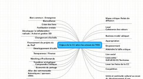 Mind Map: Enjeux de la CC selon les acteurs de l'ESS