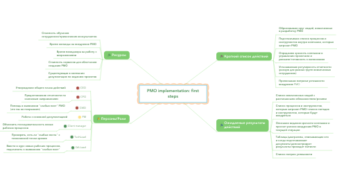 Mind Map: PMO implementation: first steps