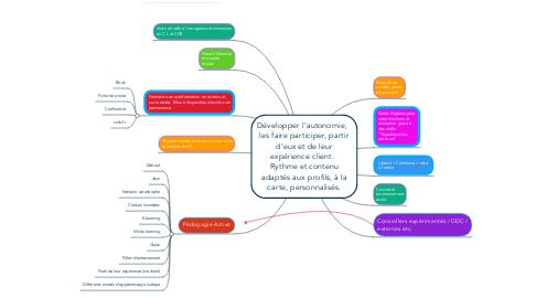 Mind Map: Développer l'autonomie,   les faire participer, partir d'eux et de leur expérience client.   Rythme et contenu adaptés aux profils, à la carte, personnalisés.