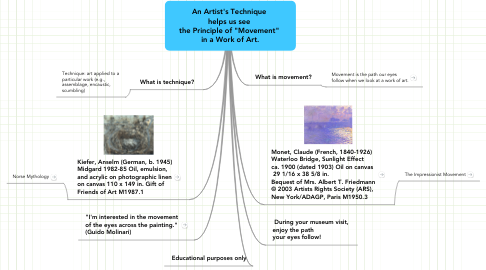 "Mind Map: An Artist's Technique  helps us see  the Principle of ""Movement""  in a Work of Art."