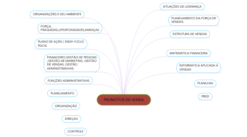 Mind Map: PROMOTOR DE VENDA