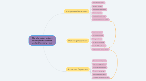 Mind Map: The information systems review plan for the New Zealand Specialty Tours