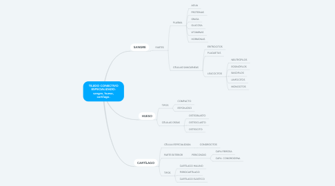 Mind Map: TEJIDO CONECTIVO ESPECIALIZADO: sangre, hueso, cartílago.