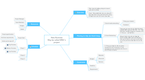 Mind Map: New Business May be called MNC's project