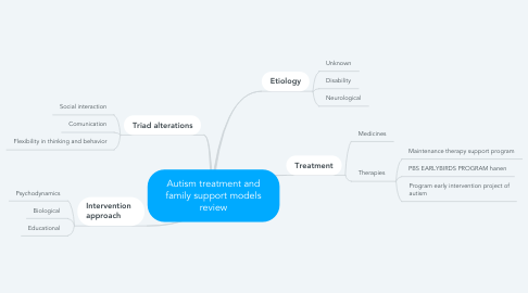 Mind Map: Autism treatment and family support models review