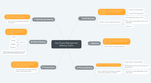 Mind Map: Key Project Management Meeting Topics