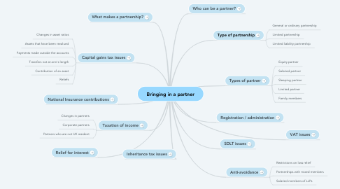 Mind Map: Bringing in a partner