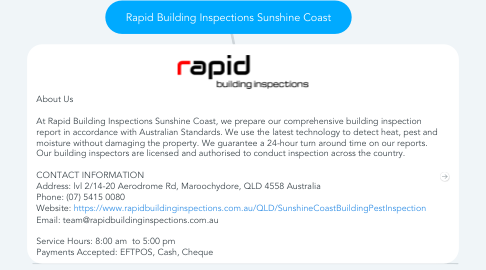 Mind Map: Rapid Building Inspections Sunshine Coast