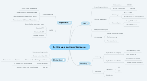 Mind Map: Setting up a business: Companies