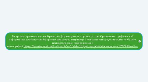 Mind Map: Растровые графические изображения формируются в процессе преобразования  графической информации из аналоговой формы в цифровую, например, сканирования существующих на бумаге или фотопленке изображений и фотографий.https://thumb.cloud.mail.ru/thumb/xw1/slide-18.jpg?x-email=irisha.kononova.1992%40mail.ru