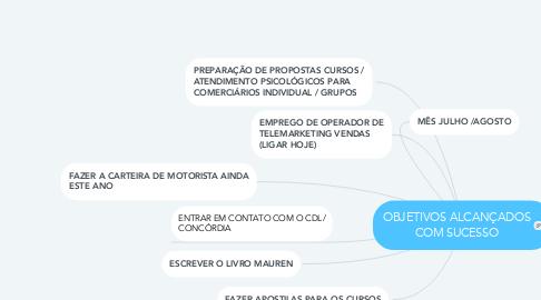 Mind Map: OBJETIVOS ALCANÇADOS COM SUCESSO