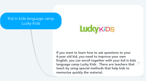 Mind Map: Kid in kids language camp Lucky Kids