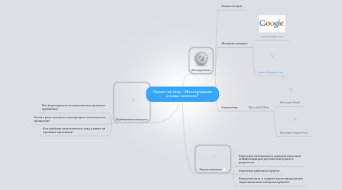 """Mind Map: Проект на тему: """"Молекулярные основы генетики"""""""