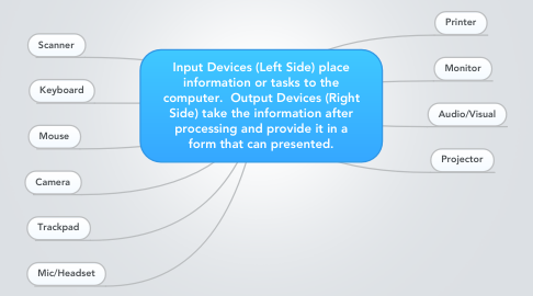 Mind Map: Input Devices (Left Side) place information or tasks to the computer.  Output Devices (Right Side) take the information after processing and provide it in a form that can presented.