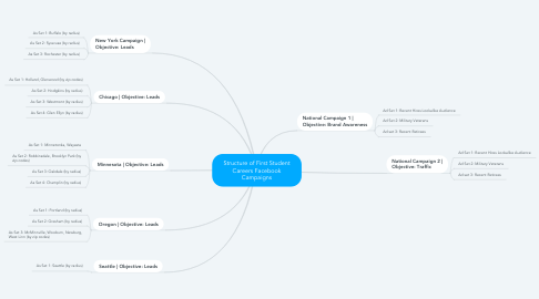 Mind Map: Structure of First Student Careers Facebook Campaigns