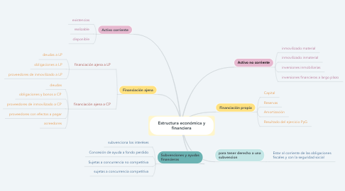 Mind Map: Estructura económica y financiera