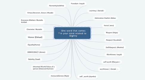 Mind Map: One word that comes in your mind related to Dignity