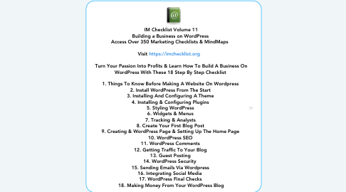 Mind Map: IM Checklist Volume 11 Building a Business on WordPress  Access Over 350 Marketing Checklists & MindMaps     Visit https://imchecklist.org      Turn Your Passion Into Profits & Learn How To Build A Business On WordPress With These 18 Step By Step Checklist    1. Things To Know Before Making A Website On Wordpress  2. Install WordPress From The Start  3. Installing And Configuring A Theme  4. Installing & Configuring Plugins  5. Styling WordPress  6. Widgets & Menus  7. Tracking & Analysts  8. Create Your First Blog Post  9. Creating & WordPress Page & Setting Up The Home Page  10. WordPress SEO  11. WordPress Comments  12. Getting Traffic To Your Blog  13. Guest Posting  14. WordPress Security   15. Sending Emails Via Wordpress  16. Integrating Social Media   17. WordPress Final Checks  18. Making Money From Your WordPress Blog