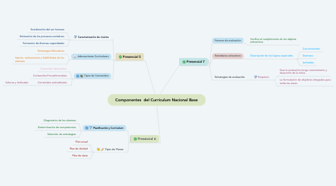 Mind Map: Componentes  del Currículum Nacional Base