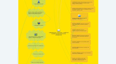 Mind Map: COMPETENCIAS , OBJETIVOS , CURRÍCULO ELEMENTOS ESENCIALES EN EL APRENDIZAJE.