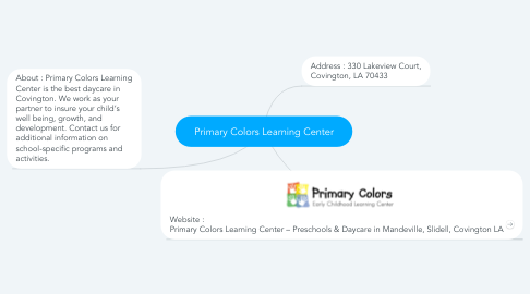 Mind Map: Primary Colors Learning Center