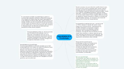 Mind Map: Generalidades de la Psicobiología.