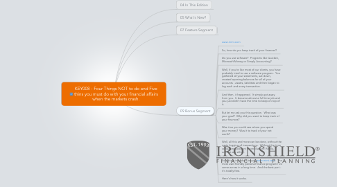 Mind Map: KEY008 - Four Things NOT to do and Five thins you must do with your financial affairs when the markets crash.