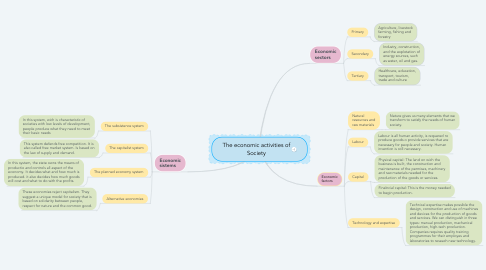 Mind Map: The economic activities of Society