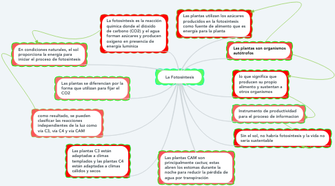 Mind Map: La Fotosíntesis