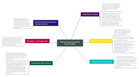 Mind Map: Research and Assessment: Final Thoughts