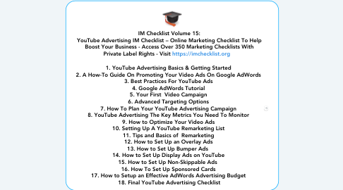 Mind Map: IM Checklist Volume 15: YouTube Advertising IM Checklist – Online Marketing Checklist To Help Boost Your Business - Access Over 350 Marketing Checklists With Private Label Rights - Visit https://imchecklist.org      1. YouTube Advertising Basics & Getting Started  2. A How-To Guide On Promoting Your Video Ads On Google AdWords  3. Best Practices For YouTube Ads  4. Google AdWords Tutorial  5. Your First  Video Campaign  6. Advanced Targeting Options  7. How To Plan Your YouTube Advertising Campaign  8. YouTube Advertising The Key Metrics You Need To Monitor  9. How to Optimize Your Video Ads  10. Setting Up A YouTube Remarketing List  11. Tips and Basics of  Remarketing  12. How to Set Up an Overlay Ads  13. How to Set Up Bumper Ads   14. How to Set Up Display Ads on YouTube  15. How to Set Up Non-Skippable Ads   16. How To Set Up Sponsored Cards  17. How to Setup an Effective AdWords Advertising Budget  18. Final YouTube Advertising Checklist