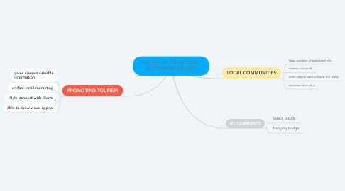 Mind Map: THE USE OF THE INTERNET AS TOURISM SUPPORT