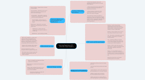 Mind Map: Learning Experience #3 -- Johnnie's Case Grade 6