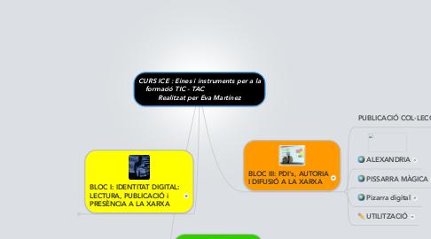 Mind Map: CURS ICE : Eines i instruments per a la formació TIC - TAC                         Realitzat per Eva Martínez