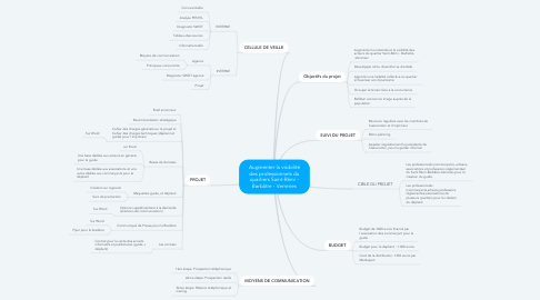 Mind Map: Augmenter la visibilité des professionnels du quartiers Saint-Rémi - Barbâtre - Verreries