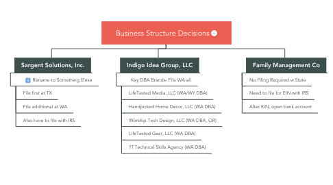 Mind Map: Business Structure Decisions