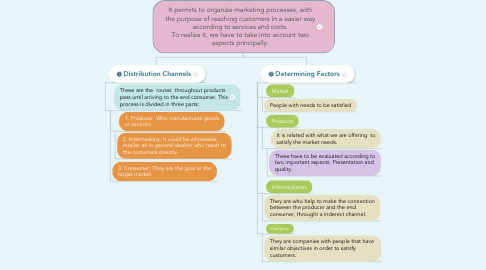 Mind Map: It permits to organize marketing processes, with the purpose of reaching customers in a easier way according to services and costs. To realize it, we have to take into account two aspects principally:
